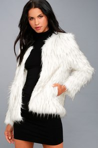 Aurora White Faux Fur Jacket at Lulus.com!