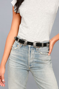 Winding Road Silver And Black Double Buckle Belt at Lulus.com!