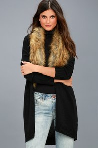 Madison Avenue Black Faux Fur Cardigan Sweater at Lulus.com!