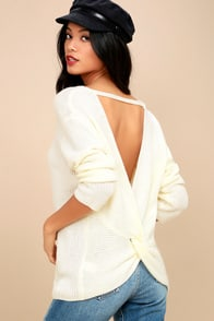 Wrapped In Warmth Cream Knot Back Sweater at Lulus.com!