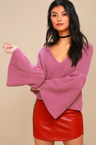 Damsel Pink Bell Sleeve Knit Sweater at Lulus.com!