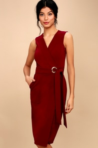Office Aesthetic Wine Red Midi Wrap Dress at Lulus.com!