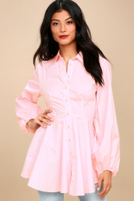 All The Time Blush Pink Long Sleeve Tunic Top at Lulus.com!