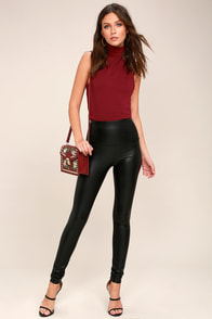 Fellini Black Vegan Leather Leggings at Lulus.com!