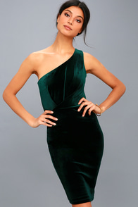 Candlelit Date Forest Green Velvet One-Shoulder Bodycon Dress at Lulus.com!