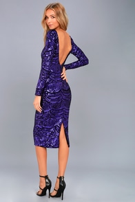 Emery Purple Sequin Bodycon Midi Dress at Lulus.com!