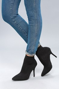 Kiera Black Mid-Calf Knit Sock Booties at Lulus.com!