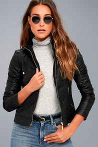 Hold Tight Black Vegan Leather Moto Jacket at Lulus.com!