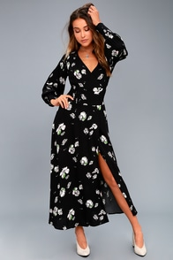 So Sweetly Black Floral Print Midi Dress at Lulus.com!