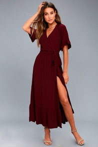 Enchanted Wine Red Midi Dress at Lulus.com!