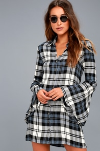 Tymber White And Navy Blue Plaid Shirt Dress at Lulus.com!