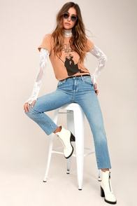Clean Girlfriend Light Wash Distressed Straight Leg Jeans at Lulus.com!