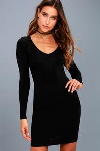 Body Language Black Long Sleeve Bodycon Dress