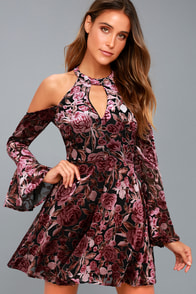 Safia Plum Purple Velvet Floral Print Cold-Shoulder Skater Dress
