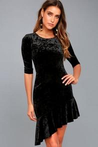 Gonna Be Alright Black Velvet Bodycon Midi Dress