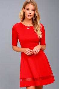 Sheer Factor Red Mesh Skater Dress