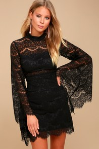 Bewitching Babe Black Lace Bell Sleeve Dress at Lulus.com!