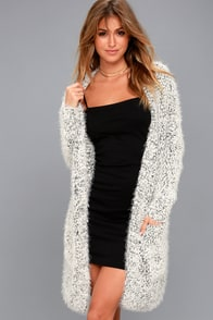 Alpine Terrace Black And White Long Cardigan Sweater at Lulus.com!
