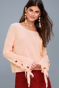 Flirt and Finesse Peach Lace-Up Sleeve Sweater