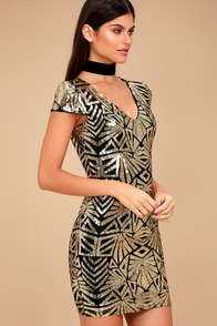 Elegant Affair Black and Gold Sequin Print Bodycon Dress