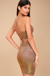 Shimmer And Shake Iridescent Gold Two Piece Dress at Lulus.com!