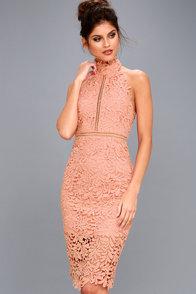 Divine Destiny Blush Pink Lace Midi Dress