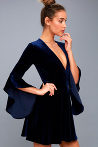 Wrapped In Luxe Navy Blue Velvet Bell Sleeve Skater Dress at Lulus.com!
