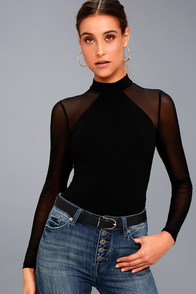 Entrancing Black Mesh Long Sleeve Bodysuit at Lulus.com!
