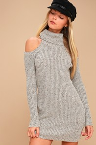 Maven Beige Cold Shoulder Sweater Dress at Lulus.com!