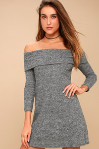 PPLA Kenli Grey Off-the-Shoulder Sweater Dress at Lulus.com!