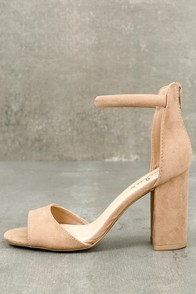 Sidecar Cutie Taupe Suede Ankle Strap Heels
