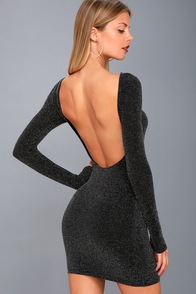 Gift Of Love Black And Silver Backless Long Sleeve Bodycon Dress at Lulus.com!