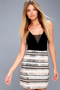 Lap Of Luxury Peach And Silver Striped Sequin Mini Skirt at Lulus.com!