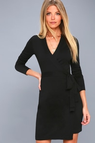 Literary Lover Black Wrap Sweater Dress at Lulus.com!