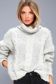 Cozy Down Light Grey Knit Turtleneck Sweater at Lulus.com!