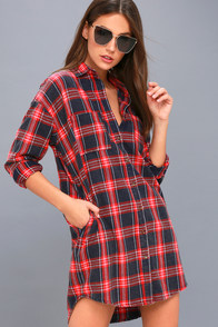 Cypress Navy Blue And Red Plaid Flannel Shirt Dress at Lulus.com!
