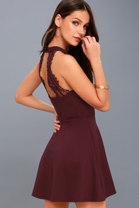 Hometown Girl Plum Purple Lace Skater Dress at Lulus.com!