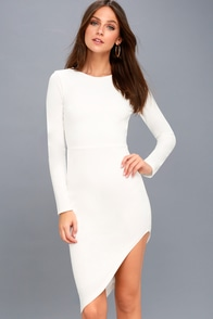 Adair White Long Sleeve Asymmetrical Bodycon Dress at Lulus.com!