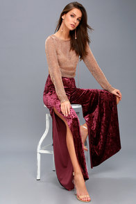 Greatest Love Story Burgundy Velvet Wide-Leg Pants at Lulus.com!