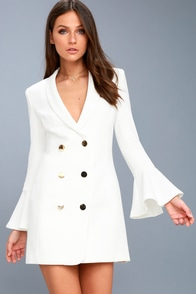 Manchester White Flounce Sleeve Blazer Dress at Lulus.com!