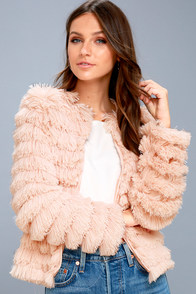 Lourdes Blush Pink Faux Fur Fringe Jacket at Lulus.com!