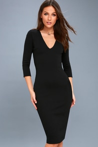Style And Slay Black Bodycon Midi Dress at Lulus.com!