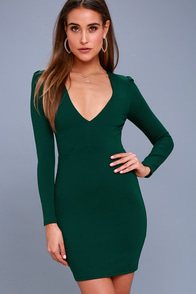 Haute In Here Forest Green Long Sleeve Bodycon Dress at Lulus.com!
