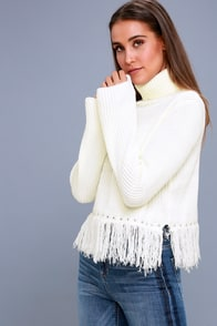 Freethinker Cream Fringe Cropped Sweater at Lulus.com!