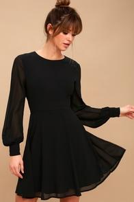 Sadie May Black Long Sleeve Dress