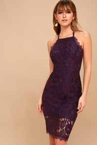 Wishful Wanderings Dark Purple Lace Bodycon Midi Dress at Lulus.com!