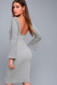 Flair Play Grey Bodycon Midi Sweater Dress