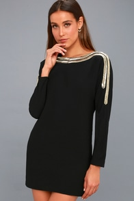 The Set Up Black Beaded Long Sleeve Shift Dress at Lulus.com!