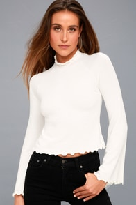 Blanc White Mock Neck Long Sleeve Top at Lulus.com!