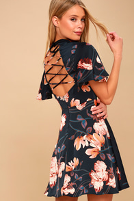 Jasmine Midnight Blue Floral Print Satin Skater Dress at Lulus.com!